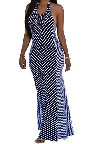 shekiss Sexy Women Summer Maxi Stripe Stretch Bodycon Party Bandage Club Dresses Purplish Blue Medium (Sleeveless Dress Stretch)