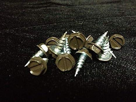 6 x 3//8 Slotted Hex Head Sheet Metal Screws 100 Royal Brown