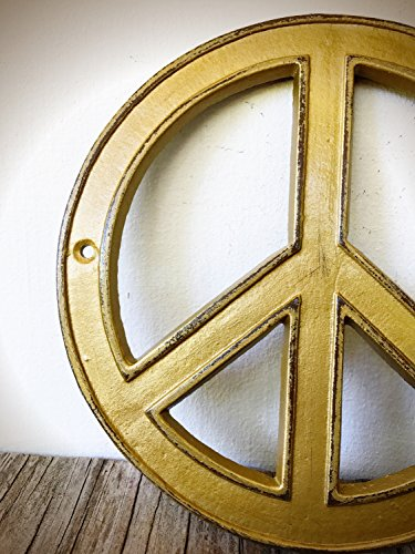 Metal Peace Sign Art – Minimalist Boho Wall Hanging – Rustic Vintage Gold Decor - Vintage Metal Art Sign