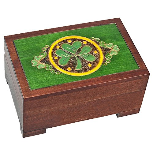 Celtic Shamrock Wood Polish Jewelry Keepsake Box Irish Irish Wood