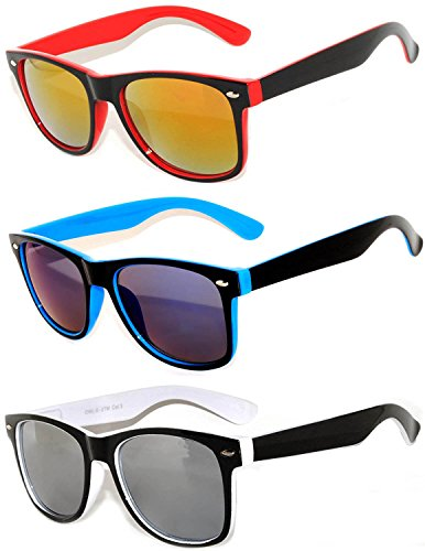 3 Pack Classic Retro Vintage Two -Tone Colorful Mirror Lens Sunglasses OWL.]()