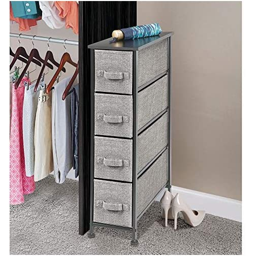 mDesign Narrow Vertical Dresser Drawers – Sturdy Steel Frame, Wood Top, 4 Easy Pull Fabric Bins – Organizer Unit for…