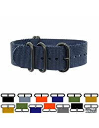 PerFit ZULU4 Ballistic Nylon Watch Strap + Spring Bars, Field Ready/Fashion Forward,, Choose Color/Size(18mm,20mm,22mm,24mm,26mm), Black Ops/Navy Blue, 22mm