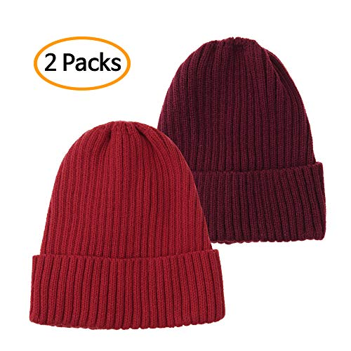 (WITHMOONS Knitted Ribbed Beanie Hat Basic Plain Solid Watch Cap AC5846 (Twopack_Redwine))