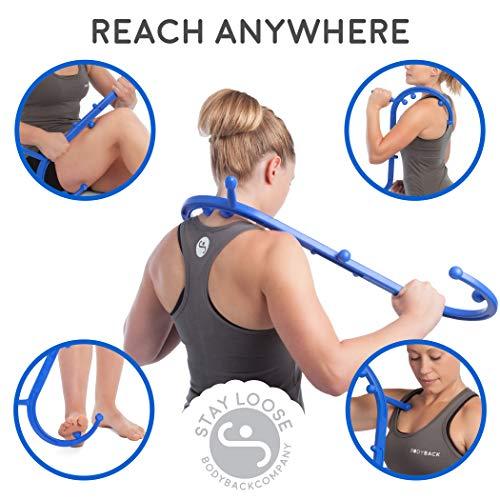 Body Back Buddy Back Massager, with Poster, Handheld Massage Stick, Trigger Point Massager, Massage Cane (Blue)