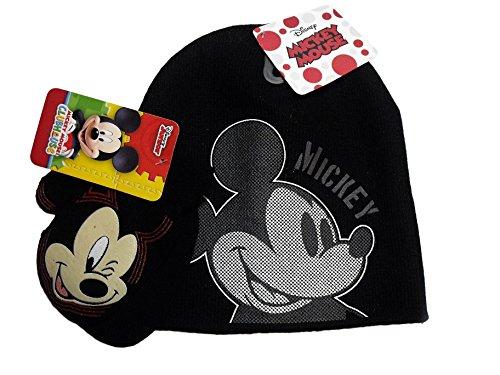 Disney Mickey Mouse Black Knit Beanie Hat Black Mittens Set