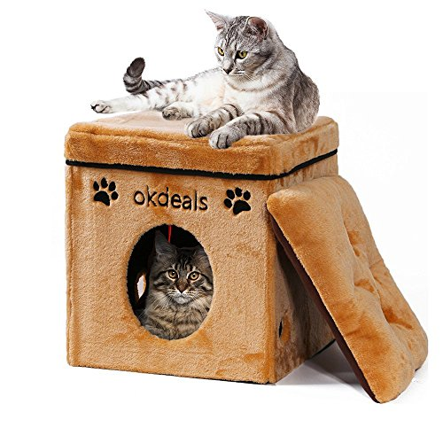 Collapsible Cat House - Cat Cube with Soft Mat for Small Dog Cat - Folding Cat Condo Pet Bed