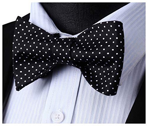 HISDERN Men's Polka Dot Wedding Party Self Bow Tie Pocket Square Set Black/White