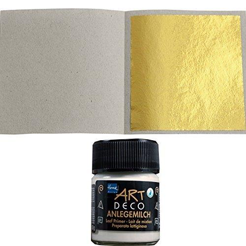 100 Sheets Imitation Gold Leaf Leaves 48 mm x 48 mm + 1 x Special Glue for applying 50ml Blattgold-Blattsilber