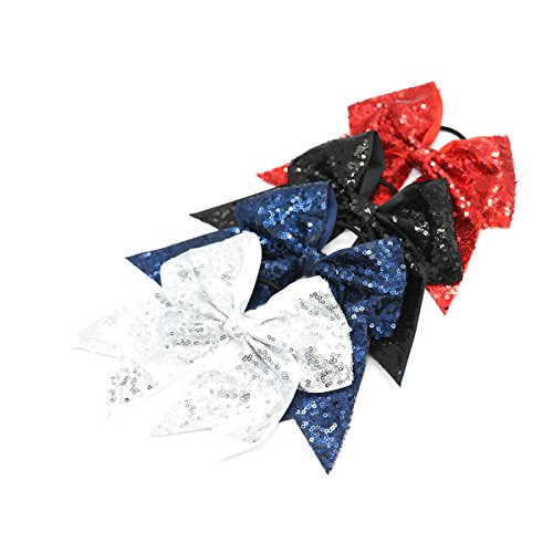 HUELE Big Sequin Cheer Bow School Hair Bow With Elastic Tie For Cheerleading Girls ,4 Pcs -