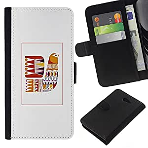 WINCASE Cuadro Funda Voltear Cuero Ranura Tarjetas TPU Carcasas Protectora Cover Case Para Sony Xperia M2 - colcha gris modelo de costura