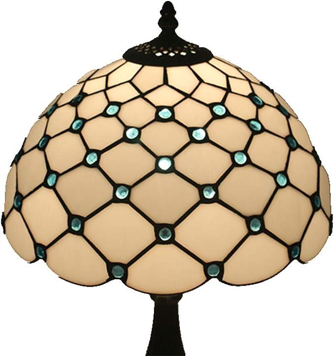 WELSUN Lámpara de mesa de cristal de color blanco cálido