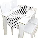 Yochoice Table Runner Home Decor, Vintage Retro Black White Polka Dot Table Cloth Runner Coffee Mat for Wedding Party Banquet Decoration 13 x 70 inches