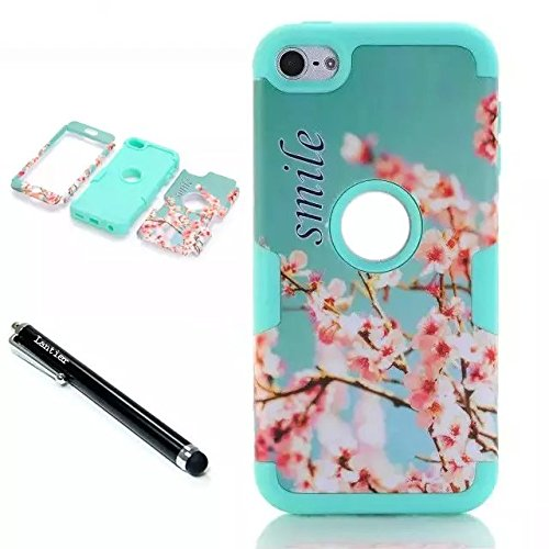 iPod Touch 6th Generation Case,Lantier Smile 3 Layers Verge Hybrid Soft Silicone Hard Plastic TUFF Triple Quakeproof Drop Resistance Protective Case Screen Protector Stylus Cherry Blossoms/Green