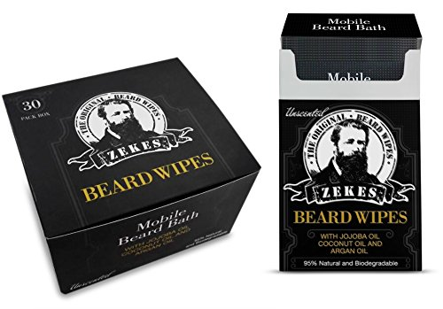 Zekes Beard Wipes Bundle Pack (10 Pack Plus 30 Pack, Unscented) Mobile Beard Bath Cleans & Condition Best Mobile Beard Wipes-Like Beard Oils, Balms or Conditioners by Zekes Beard Wipes