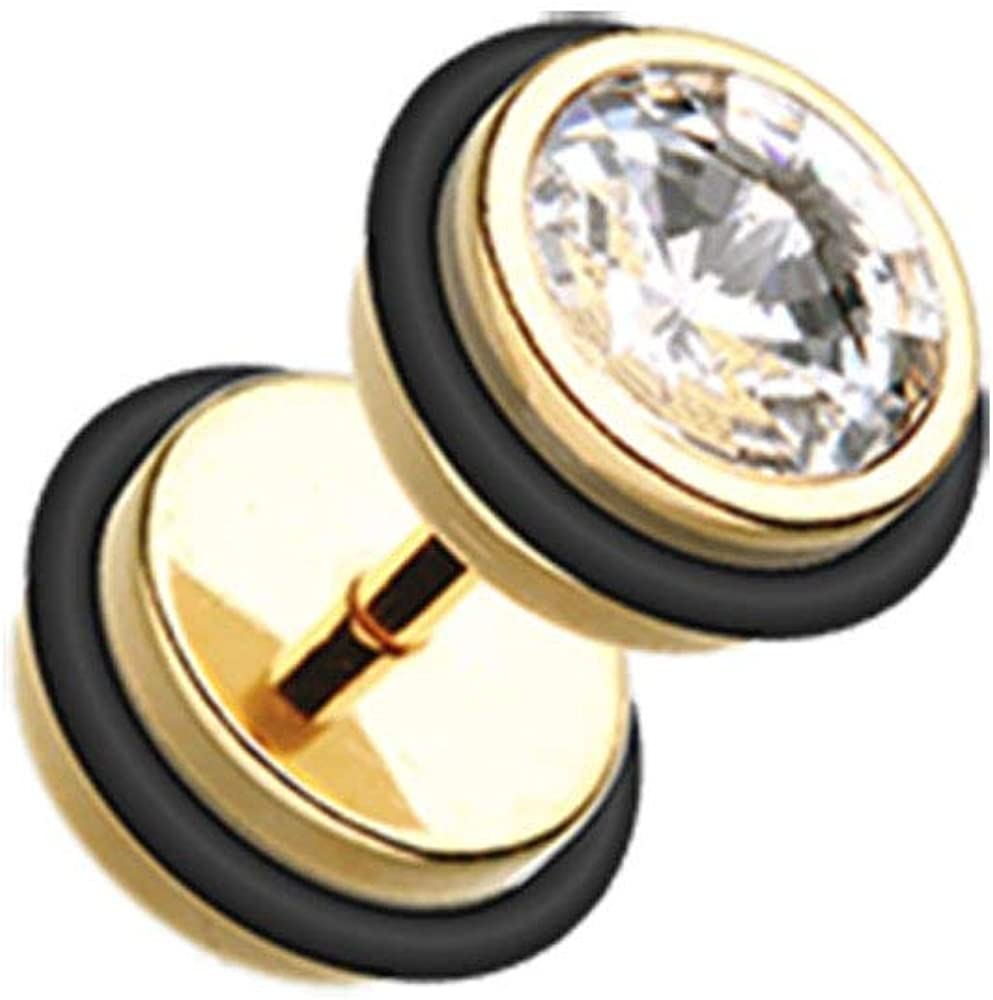 Covet Jewelry Gold PVD Gem Top Fake Plug with O-Rings