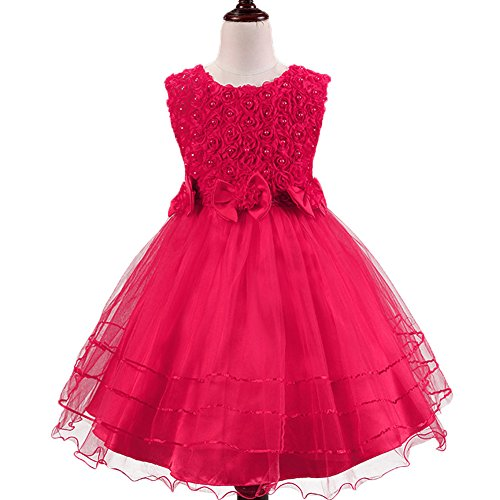 Girls'polyester Fully Lined Long Sleeveless Princess Party Dresses,Rose,3T (Kids Christmas Dress)