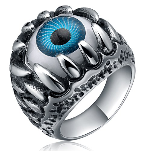 TIGRADE Jewelry Mens Stainless Steel Blue & Silver Gothic Skull Claw Evil Devil Eyeball Biker Ring Comfort Fit Size 8-13