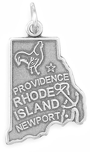 Oxidized Sterling Silver Charm, State of Rhode Island, 1 inch