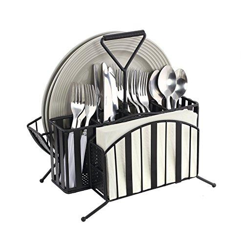 "KOVOT Metal Picnic Serveware Caddy - 12"" x 7 1/2"" x 11 3/4"" - Wrought Iron Finish Picnic Caddy (Metal Picnic Caddy)"