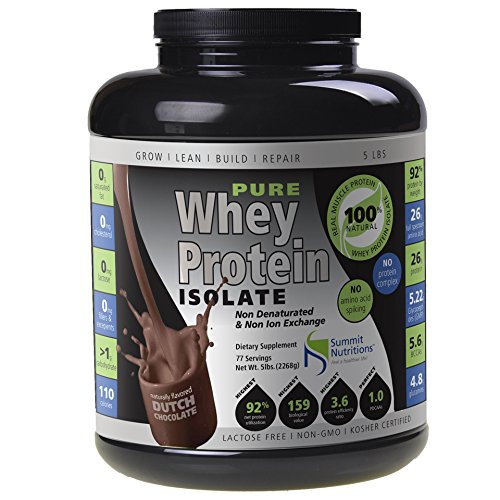 Non-GMO Pure Whey Protein Isolate: Instanized to Easy Mixing: Lactose Free: Kosher Certified: Naturally Flavored Dutch Chocolate: Sweetened by Stevia: Gluten Free: Highest BCAAs and Glutamines: Zero Fat, Cholesterol, Carbohydrates, Fillers and Binders,5lbs Review