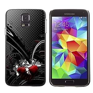 Negro rojo del corazón del lunar gris abstracta- Metal de aluminio y de plástico duro Caja del teléfono - Negro - Samsung Galaxy S5