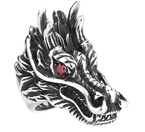 [Aooaz 316L Stainless Steel Mens Ring Bands Dragon Head Red Size 7 Punk Gothic Vintage Novelty Ring] (Tarnished Costume Jewelry Cleaner)