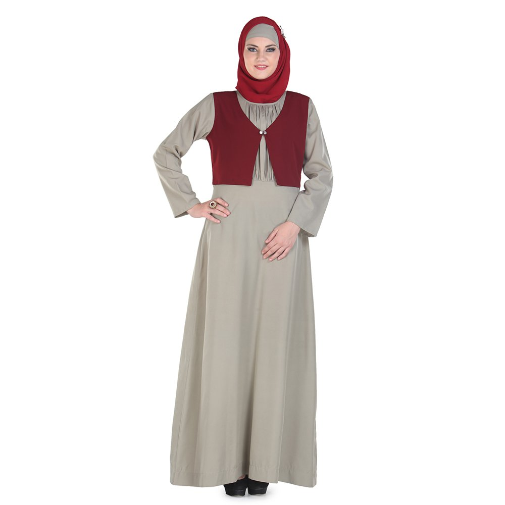 Momin Libas Women's Daneen Grey with Shrug Jacket Abaya Islamic Muslim Pakistaini Burqa Jilab by Momin Libas