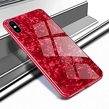 Ostop Glitzer Muschel Muster Hülle für iPhone XS,Glänzend Ultra Dünn Handyhülle Glatt Gehärtetes Glas Zurück Hartschale Weich TPU Stoßstange Fall Stoßfest Ganzkörper Schutzhülle-Rot