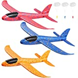 "Toyvian 3 Pack Airplane Toys,14.57"" Foam Glider Plane,Manual Throwing,Fun Challenging, Model Plane Foam,Outdoor Sport Game Toys,Flying Toy for Kids with 3 Paratroopers"