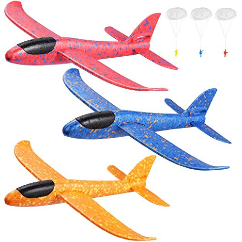 """Toyvian 3 Pack Airplane Toys,14.57"""" Foam Glider Plane,Manual Throwing,Fun Challenging, Model Plane Foam,Outdoor Sport Game Toys,Flying Toy for Kids with 3 Paratroopers"""