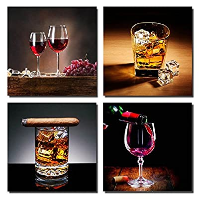 "Canvas Wall Art Ready to Hang for Home Decoration- Canvas Prints 4 Panels Oil Painting Picture "" Wine & Cigar"" Modern Wall Art for Kitchen Wall Decor Ideas, ""Wine & Ice "" Giclee Artwork Canvas Art for Room Decoration-P4S3030-003"