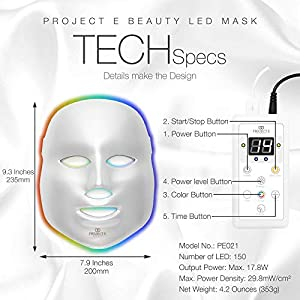 Project E Beauty 7 Colors LED Face Mask Photon Therapy For Skin Rejuvenation Tightening and Whitening Anti Aging Wrinkles Scarring Removal Beauty Facial Skin Care Mask (Color: White)