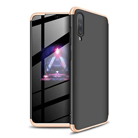 Silver Black Ultra-Thin Shockproof 360 /° Bumper Cover 3-in-1 Protective Cover Ttimao Compatible with Samsung Galaxy A50 Case PC Hard Case Tempered Glass Screen Protector