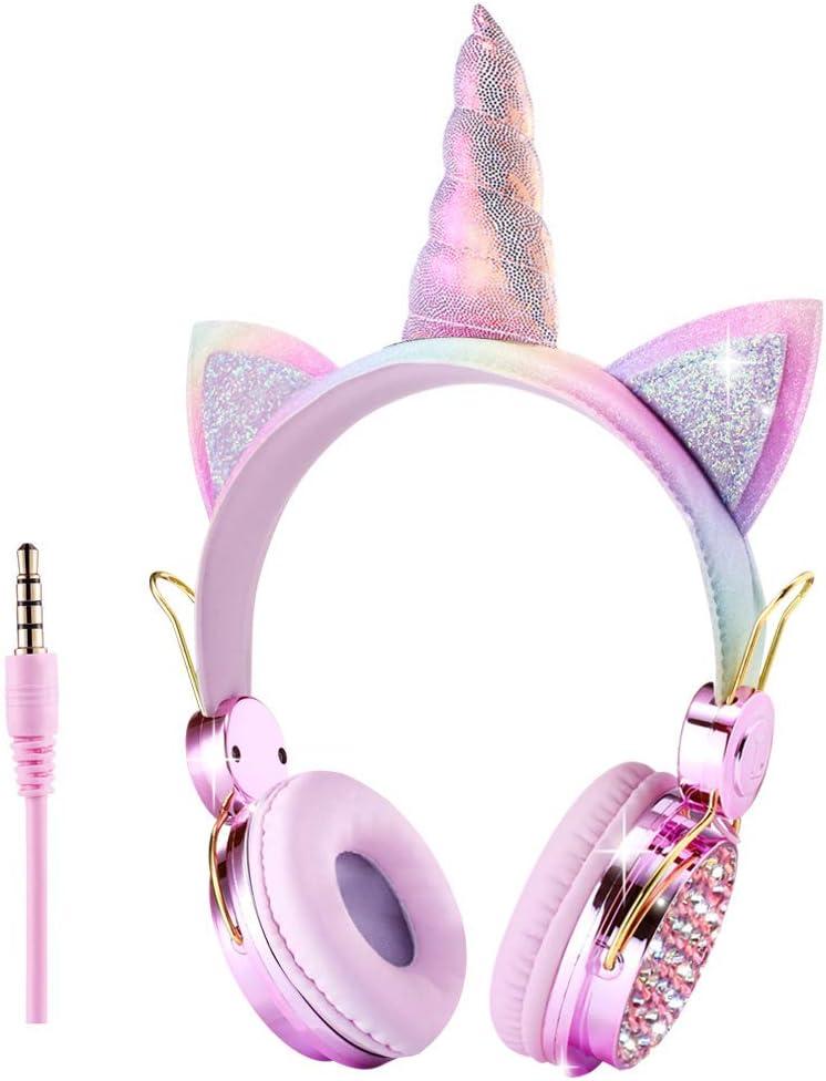 Unicorn Kids Headphones 3.5MM Audio Cable Cartoon Headband 85dB Volume Limited on Ear Headphones for Children,Boys,Girls,Adults,Teens,School,Christmas,Parties (Pink-Unicorn)