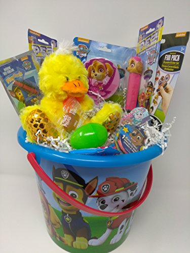 Happy Birthday Easter Basket JUMBO Kids Toddlers Gift Children Party Action Figure Pack Pre Made Eggs Goodies Candy Baskets Action Figure Coloring Book Toys Puzzle Pez Paw Patrol Chase & Skye