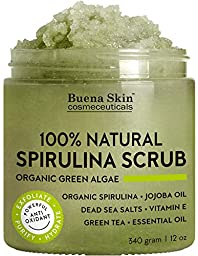 Spirulina Body Scrub 100% Natural, Antifungal, Antibacterial with Green Algae, Dead Sea Salts and Vitamin E By Buena Skin 12 oz