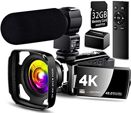 【Full Update】 4K Camcorder Vlogging Video Camera Ultra HD 60FPS Digital Recorder YouTube Camera 2.4G Remote Control IR Night Vision 3.0″ IPS Touch Screen with Microphone,Wide Angle Lens,Lens Hood