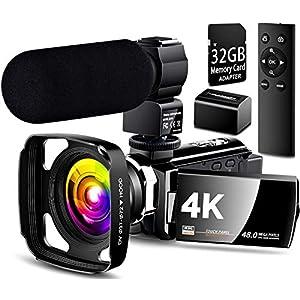 Flashandfocus.com 51YY-qL-AtL._SS300_ 【Full Update】 4K Camcorder Vlogging Video Camera Ultra HD 60FPS Digital Recorder YouTube Camera 2.4G Remote Control IR…