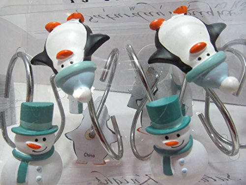 Christmas Shower Curtain Hooks - SNOW WHAT FUN