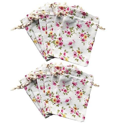 12Pcs Natural Burlap Gift Bag Drawstring Cotton Linen Flower Jewelry Candy Pouch Wedding Sacks-Flower