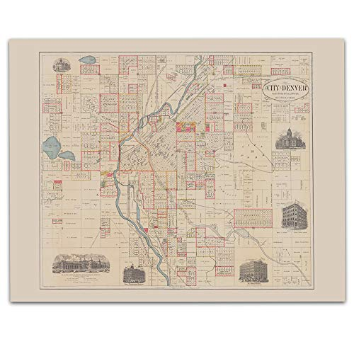(Denver Colorado Vintage Map Circa 1890-11 x 14 Unframed Print - Great Housewarming Gift. Denver Themed Office Decor. Great Gift for a Real Estate Agent or Developer)