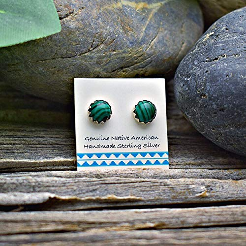 (6mm Genuine Malachite Stud Earrings in 925 Sterling Silver, Authentic Navajo Native American, Handmade in the USA, Nickle Free, Dark Green)