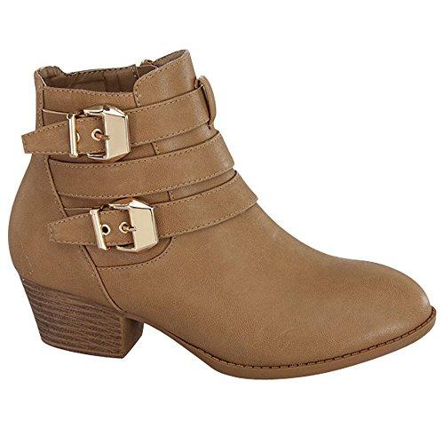Top Moda Frauen Side Zip High Block Heel Ankle Booties Khaki