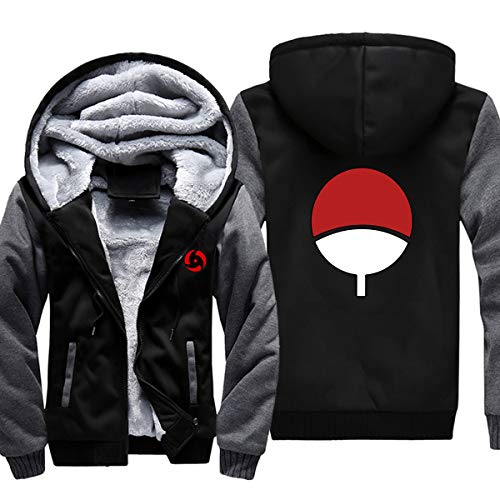 - ELEFINE Boys Men's Fleece Thick Hoodies Naruto Cosplay Uchiha Itachi Mangekyo Sharingan Zip Jacket Black&Gray XL