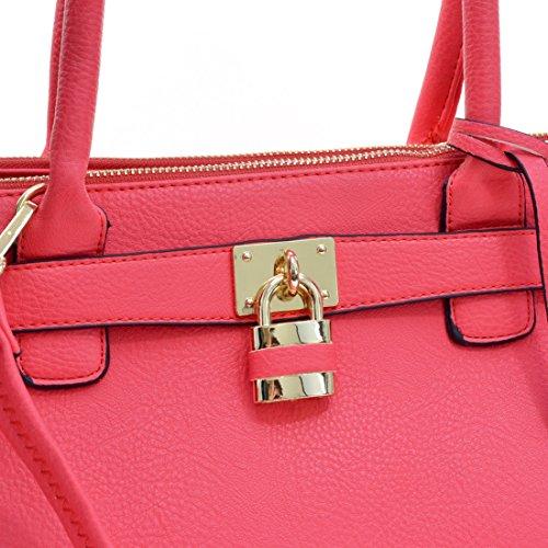Dasein Faux Leather Padlock Structured Briefcase Satchel Handbag ...