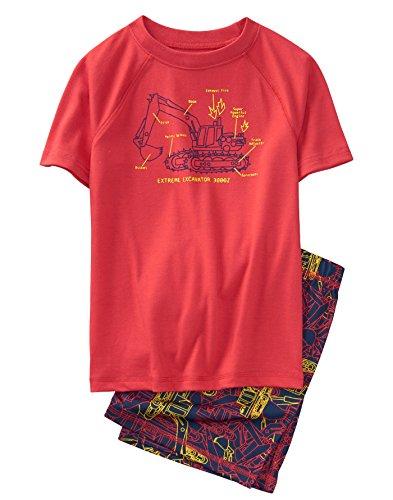 Gymboree Little Boys' 2-Piece Short Sleeve Shortie Pajama Set, Lava Red, XS from Gymboree