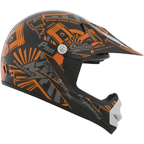 CKX 183983 TX-218 Pursuit Juniors/ Kids/ Youth Full Moto Helmet, Orange/Black, Medium