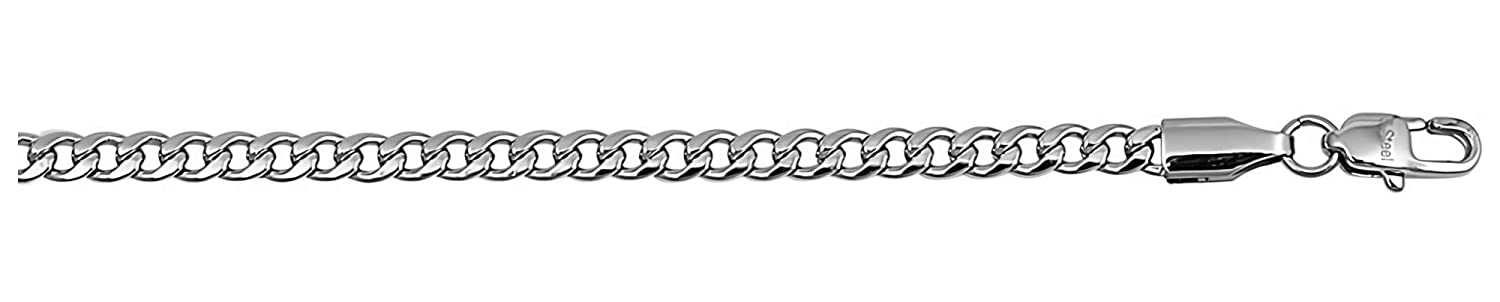 Jewelry for Men and Women Glitzs Jewels Premium Stainless Steel Chain Necklace Curb// 4mm