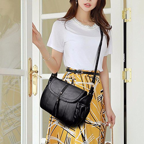 Bag Leather Casual Messenger PU Handbags Women Everpert Tassel Big Shoulder Capacity vqc7vAzS